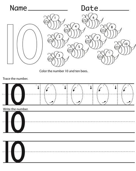 number 10 preschool worksheets learning printable