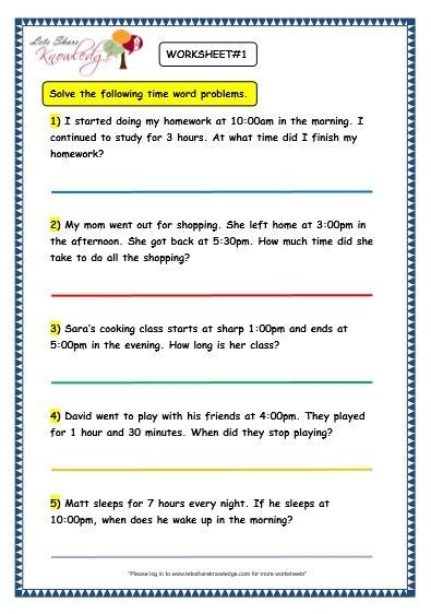 grade  maths worksheets  time problems lets share