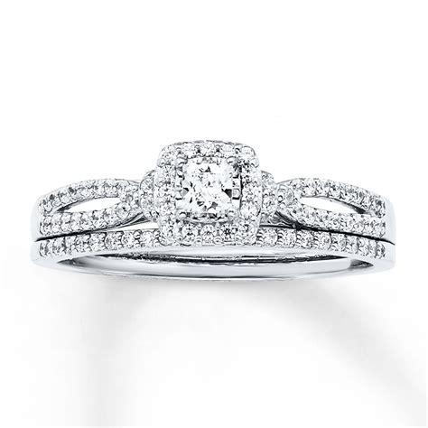 princess cut wedding set bridal set 1 2 ct tw princess cut 14k white gold