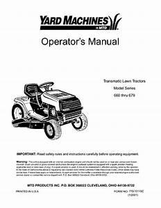 Yard Machines Lawn Mower 660 Thru 679 User Guide