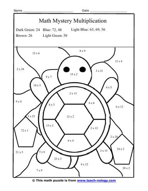 maths colouring puzzles silly turtle multiplication puzzle