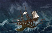 Science Source - Giant Squid Attacking Ship, 1700