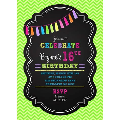 neon birthday invitation templates