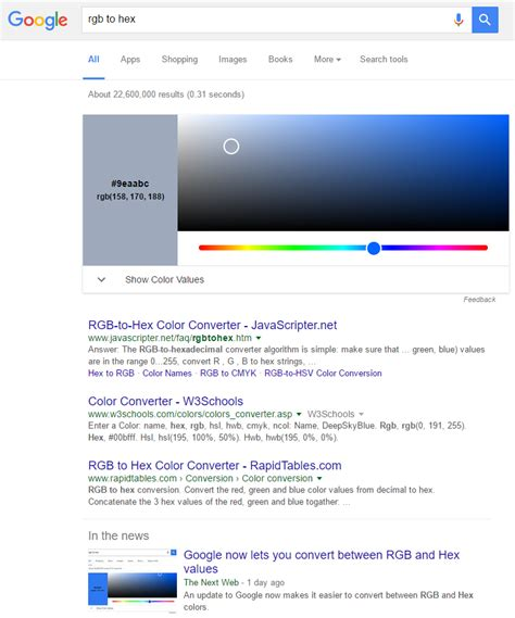 puts rgb hex color converter in search results for
