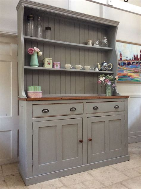 country kitchen dressers large painted grey vintage solid pine dresser 2791