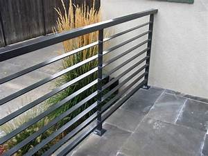 Interior modern grey metal balcony railing with stoned for Modern outdoor railing