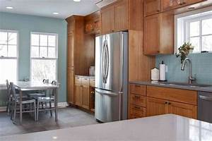5 top wall colors for kitchens with oak cabinets kitchen for Kitchen cabinet trends 2018 combined with metal wall art mountain scene