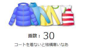 服装 指数 東京