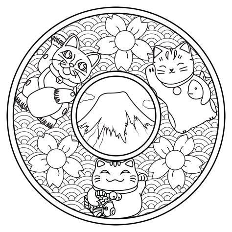 mandala avec trois maneki neko mandalas coloriages difficiles pour adultes