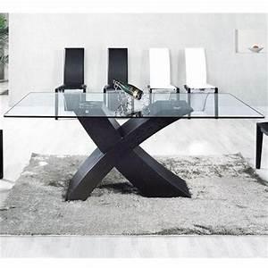 Verre A Pied Noir : table en verre mix pied noir 150 x 90cm achat vente ~ Teatrodelosmanantiales.com Idées de Décoration