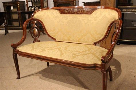Quality Settees by Stunning Quality Marquetry Inlaid Edwardian Period Antique