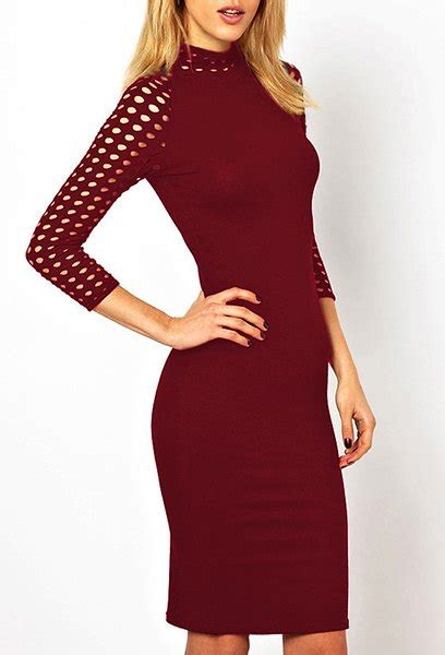 wine s stylish stand up collar 3 4 sleeve solid color hollow out slimming s