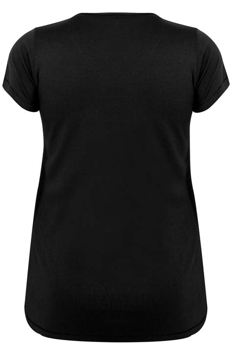 Black Short Sleeved V-Neck Basic T-Shirt Plus Size 16 to 36