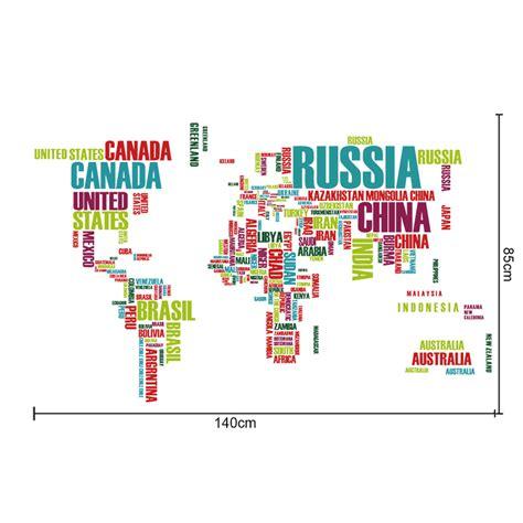 Carte Du Monde Avec Nom Des Pays Et Océans by Sticker Carte Du Monde R 233 Alis 233 E Avec Les Noms De Pays