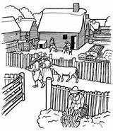 Coloring Plantation Plimoth Village Thanksgiving Pilgrim Plymouth Colonies Wampanoag Southern Sketch Sheets Crafts England Colony Pilgrims Slaves History Civil Massachusetts sketch template