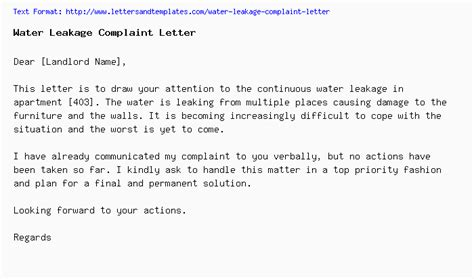 water leakage  ceiling complaint letter