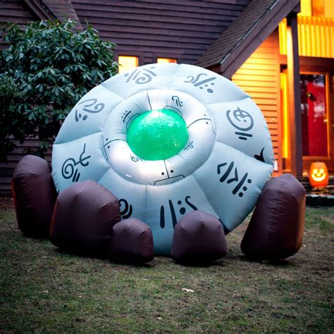 massive inflatable crashed ufo  green head