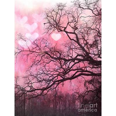 Surreal Fantasy Pink Hearts Trees And Nature - Dreamy