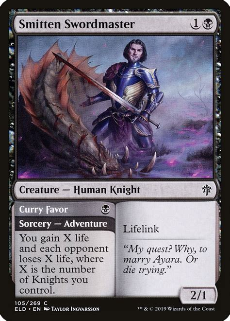 Throne of eldraine is the 19th expansion set of magic: Smitten Swordmaster // Curry Favor · Throne of Eldraine (ELD) #105 · Scryfall Magic: The ...