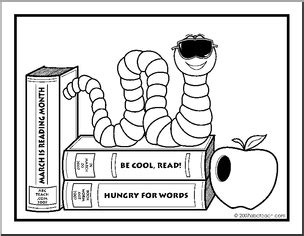 coloring page cool reading month bookworm abcteach