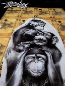 Statue Singe De La Sagesse : 3 monkey gangsta maingriz ~ Teatrodelosmanantiales.com Idées de Décoration
