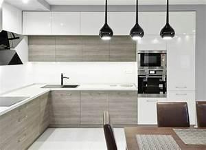 plan de travail cuisine 50 idees de materiaux et couleurs With cuisine grise plan de travail bois