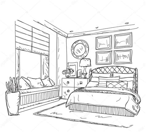 chambre à coucher gogh bedroom modern interior drawing stock vector yuliia25