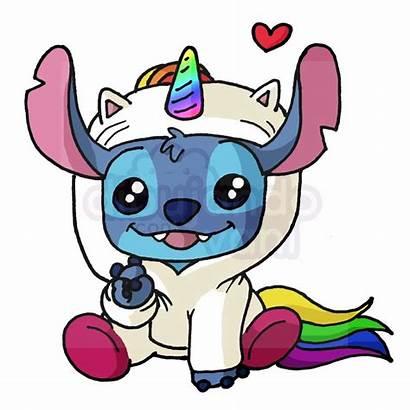 Kawaii Stitch Disney Faciles Dibujos Unicornio Colorear