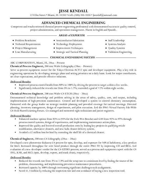 Chemical Engineering Resume resume sles for chemical engineers chemical engineer