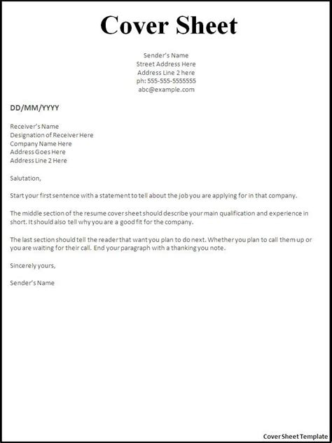 how to make cover sheet cover letter
