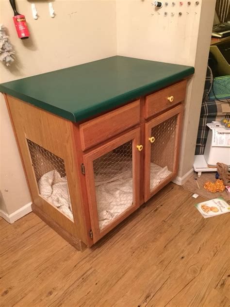 repurposed   kitchen island   dog cage  dog