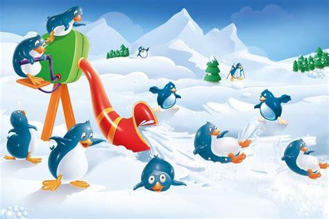 penguin snow fun kids room wallpaper walls  murals