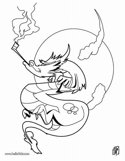 Coloring Pages Dragon Strange Smoking Headed Realistic