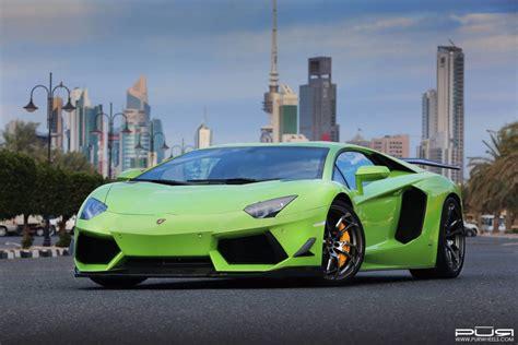 green kuwaiti lamborghini aventador  pur wheels gtspirit