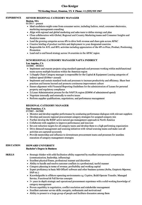 Categories Resume by Regional Category Manager Resume Sles Velvet