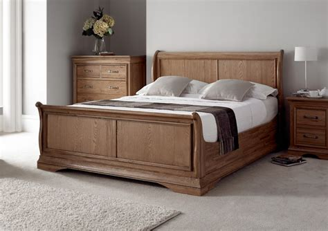 Brown Bedroom Ideas - style versaille rustic oak sleigh bed light wood wooden beds beds