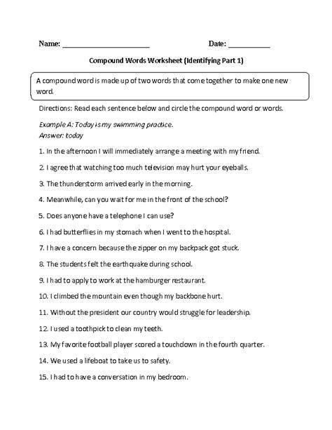 englishlinxcom compound words worksheets