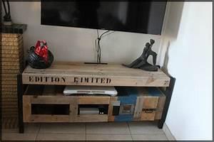 Idee Meuble Tv Fait Maison : comment faire un meuble tv avec des palettes maison et mobilier d avec meuble tv en palette de ~ Melissatoandfro.com Idées de Décoration