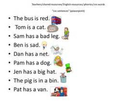 Cvc words sentences pdf for kindergarten and class 1. cvc sentences by cariad2 - Teaching Resources - Tes