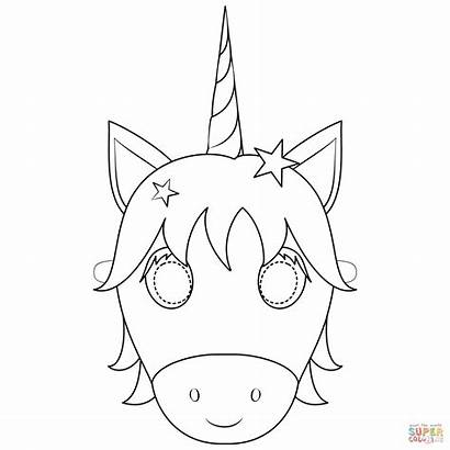 Unicorn Mask Coloring Pages Printable Face Crafts