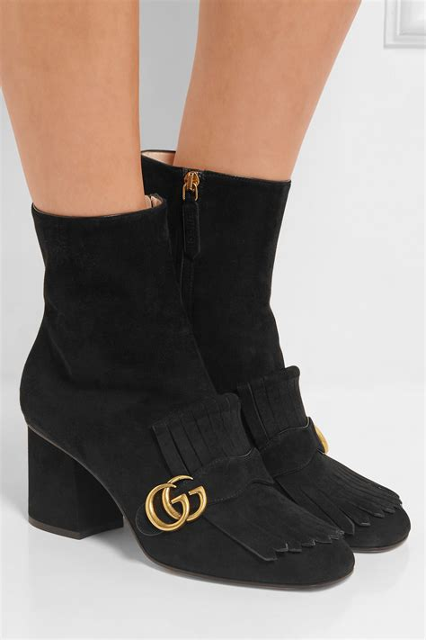 gucci fringed suede ankle boots  black lyst