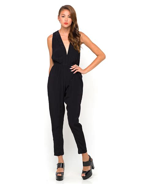 plunge jumpsuit buy motel pia plunge front jumpsuit in black at motel rocks