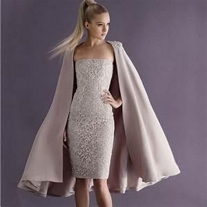 champagne vintage lace knee length mother of the bride With robe de soirée avec cape