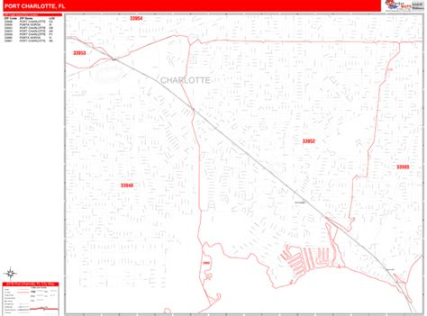 Port Charlotte Florida Wall Map (red Line Style) By Marketmaps
