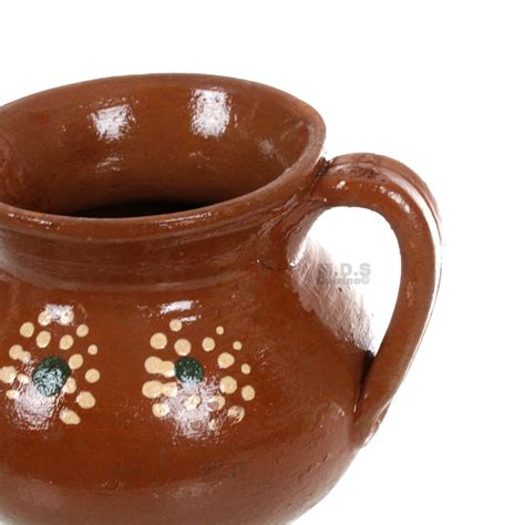 taza barro artisan lead oz painted traditional floral hand