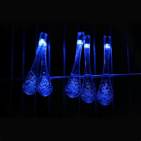 15ft 20led blue solar water drop string light for