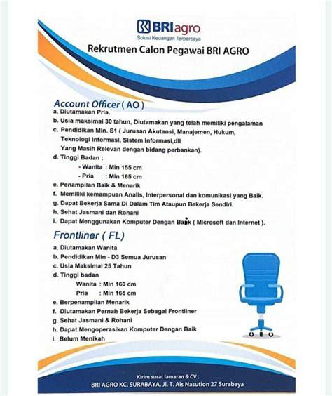 Info loker bank bri terbaru september 2020. Lowongan Kerja Bank BRI Agro | KC Surabaya Juli 2020