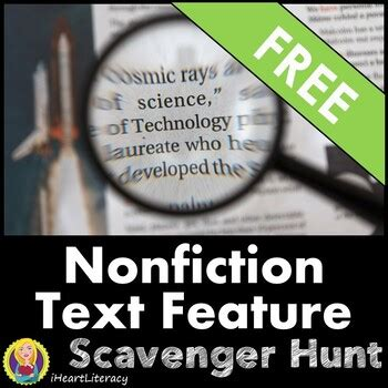 nonfiction text features scavenger hunt  iheartliteracy