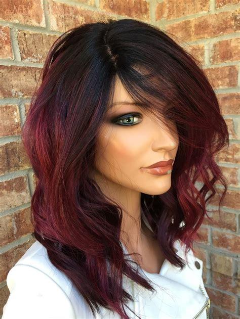 Cherry Red Balayage Human Hair Blend Full Wig