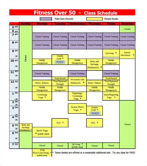 weekly group schedule templates   ms word